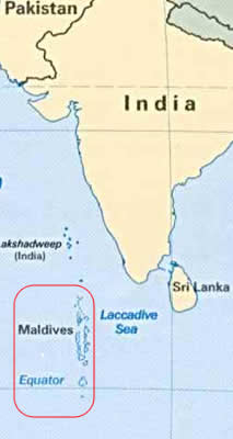 Maldives on the World Map